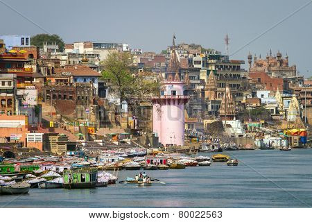 VARANASI, INDIA - MARCH 21: Ghats on the banks of Ganges river in holy city of Varanasi on March 21, 2013 in Varanasi, Uttar Pradesh, India.