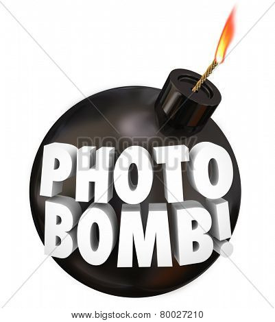 Photobomb words on a black round bomb to illustrate intruding uninvited in other people's photographs or picture taking as a prank or practical joke