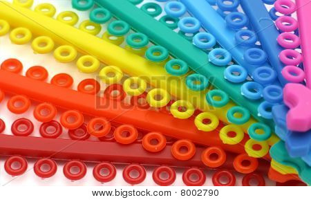 Marcro Of Colored Elastics For Ligature Disposed As Fan