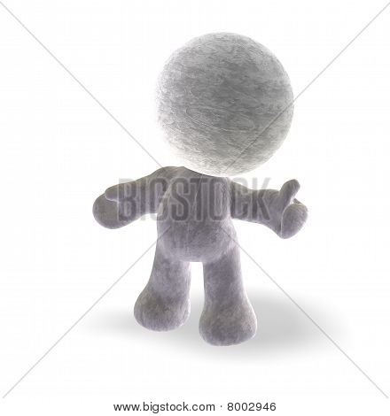 isolated 3d cartoon of a little toy man with thumb up