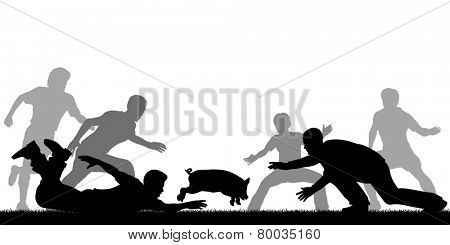 Illustration of people trying to catch a slippery greased piglet