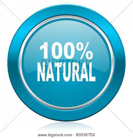 natural blue icon 100 percent natural sign