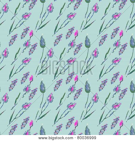 Seamless pattern with flowers and ears