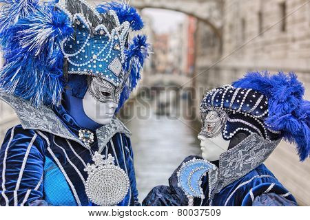 VENICE, ITALY - FEBRUARY 27, 2014: Unidentified person with Venetian Carnival mask in Venice, Italy on February 2014.  For only editorial