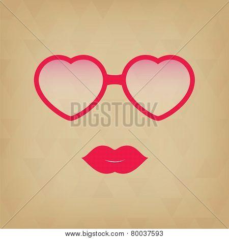 Heart Sunglasses And Lips