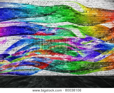 abstract colorful painting with foreground over white brick wall poster