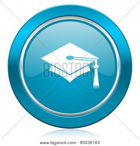 education blue icon graduation sign