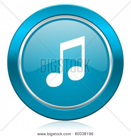 music blue icon note sign
