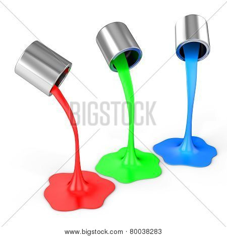 3D Red, Green, Blue Paint Pouring From Buckets