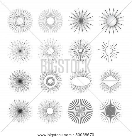 Geometric Shapes And Light Ray. Sunbusrt Set For Vintage And Retro Logo