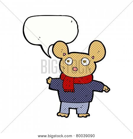 cartoon mouse in clothes with speech bubble