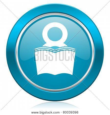book blue icon reading room sign bookshop symbol