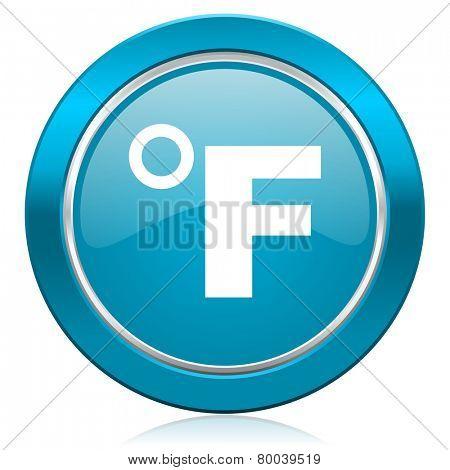 fahrenheit blue icon temperature unit sign