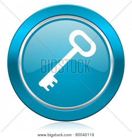 key blue icon secure symbol