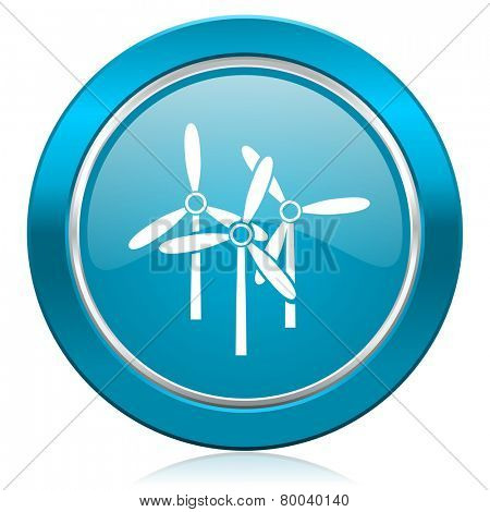 windmill blue icon renewable energy sign
