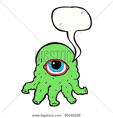 cartoon alien head with speech bubble