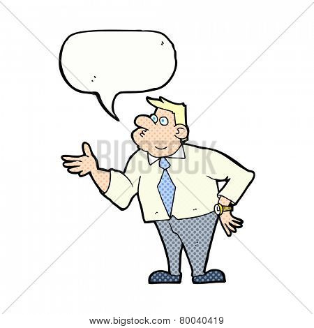 cartoon businessman asking question with speech bubble