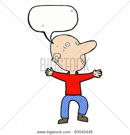 cartoon worried middle aged man with speech bubble