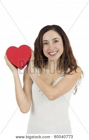 Valentines Day Woman Showing Heart