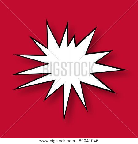Comic Book Star with a shadow isolated on Red Background
