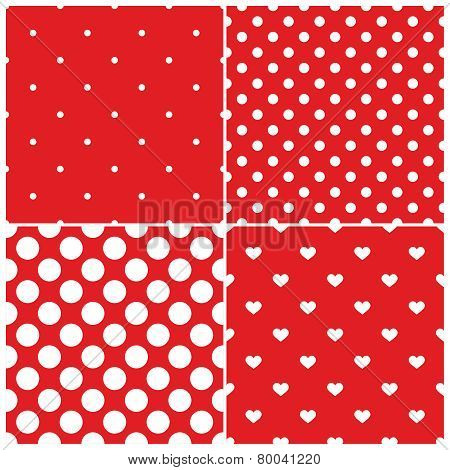 Tile vector pattern set with white polka dots and hearts on red background