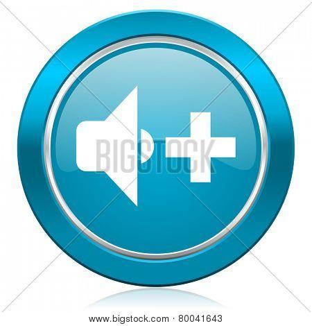 speaker volume blue icon music sign