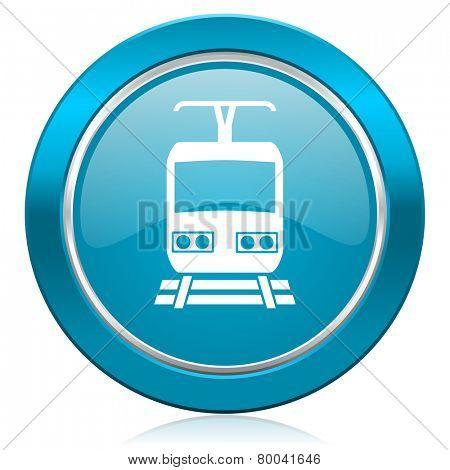 train blue icon public transport sign