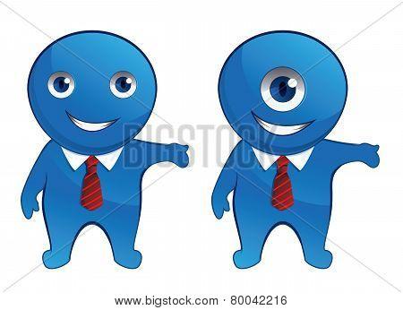 Blue office monster isolated on white