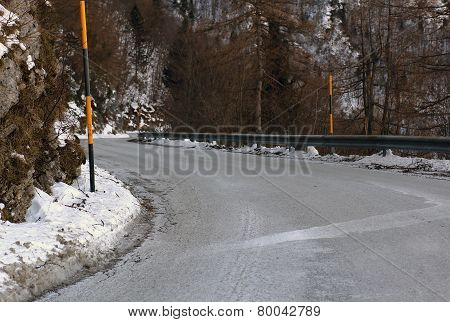 Dangerous Frozen Mountain Road In Winter