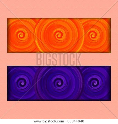 Vector Illustration of set with orange and purple acrylic spirals.