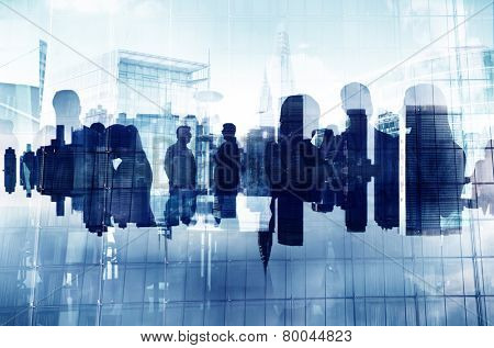 Business People Silhouette Working Cooperation Partnership Organization Connection