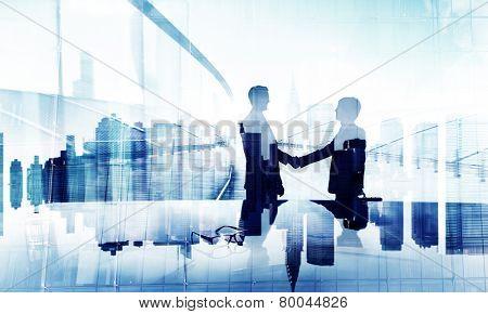 Businessmen Handshake Agreement Support Unity Welcome Together Concept