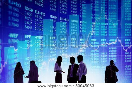 Silhouette Business People Discussion Stock Market Concept