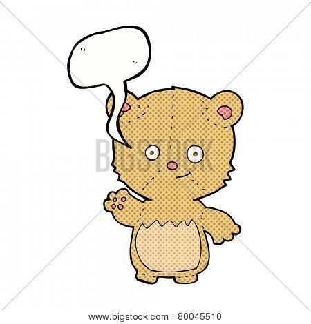 cartoon teddy bear waving with speech bubble