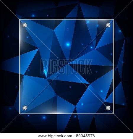 Blue abstract polygonal background with glass frame