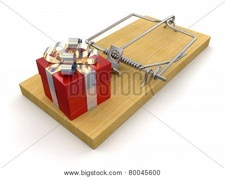 Mousetrap and gift (clipping path included)