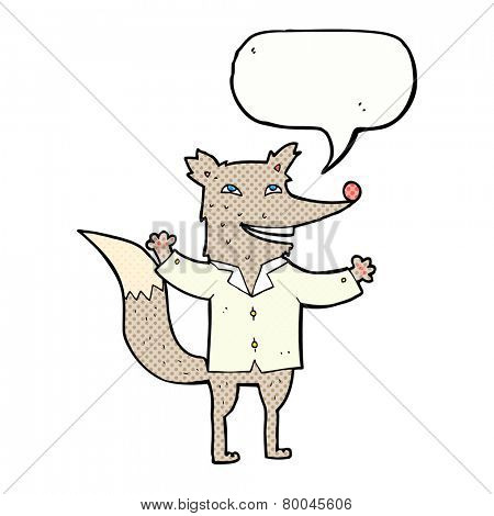 cartoon happy wolf wearing shirt with speech bubble