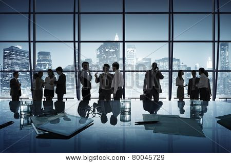 Business People Discussion Communication Cityscape Meeting Concept