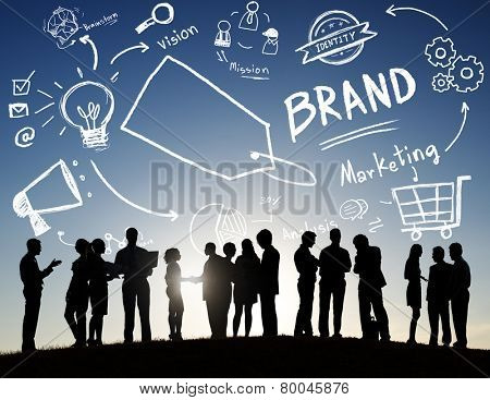Back Lit Business People Meeting Outdoors Brand Concept