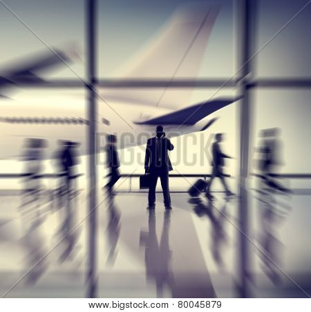 Airport Airplane Business Travel Terminal Transportation Commuter Concept