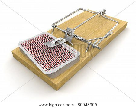 Mousetrap and Playing Cards (clipping path included)