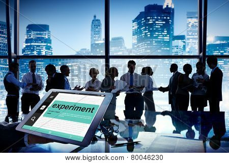 Business People Meeting Experiment Dictionary Communication Cityscape Concept