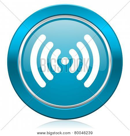 wifi blue icon wireless network sign