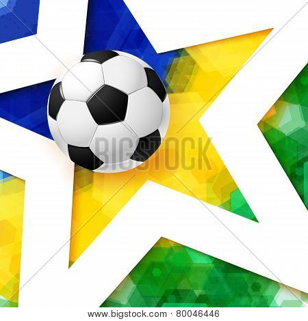 Soccer football poster. Mosaic background in Brazil flag colors,