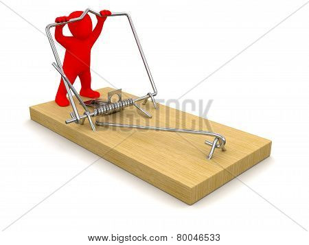 Man and Mousetrap (clipping path included)
