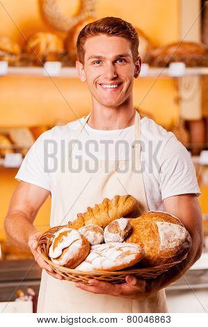 Proud Of His Baked Goods.