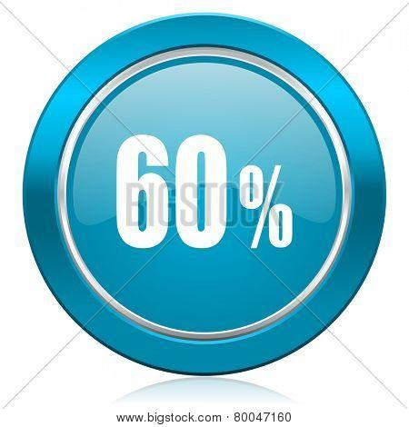 60 percent blue icon sale sign