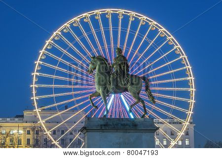 Place Bellecour, Famous Statue Of King Louis Xiv And The Wheel