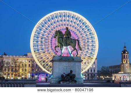 Place Bellecour, Famous Statue Of King Louis Xiv By Night