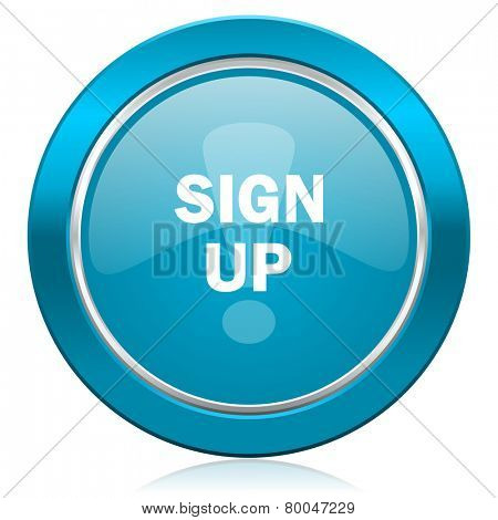 sign up blue icon